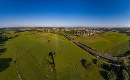 Aerial panorama view of the meadows and river Regnitz at Erlangen Royalty Free Stock Images