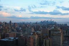 Aerial and panorama view of skyscrapers of New York City, Manhattan. view of night midtown of Manhattan royalty free stock images