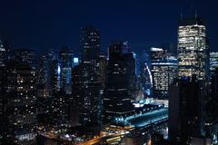 Aerial and panorama view of skyscrapers of New York City, Manhattan. Top view of night midtown of Manhattan stock photo