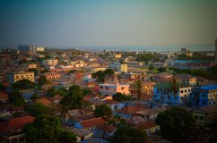 Aerial panorama view to city of Banjul and Gambia river. Gambia stock photo