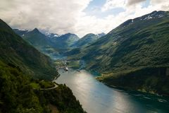 Aerial panorama view to Geiranger fjord from Trollstigen, Norway. Aerial panorama view to Geiranger fjord from Trollstigen at Norway Royalty Free Stock Photo