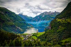 Aerial panorama view to Geiranger fjord and Trollstigen, Norway. Aerial panorama view to Geiranger fjord and Trollstigen at Norway Stock Photography