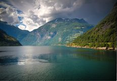 Aerial panorama view to Geiranger fjord and Trollstigen, Norway royalty free stock photography