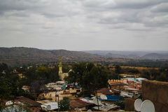 Aerial panorama view to old Harar city aka jugol Ethiopia Royalty Free Stock Photos