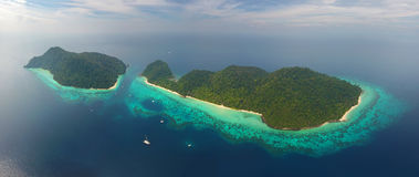 Aerial panorama view on tropical islands Royalty Free Stock Photography
