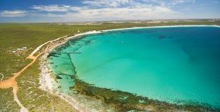 Aerial panorama of Vivonne Bay and pier in Summer. Kangaroo Isla Stock Photography