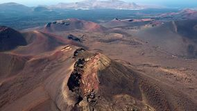 Aerial panorama of volcanic valley near Timanfaya National Park, Lanzarote. stock video footage