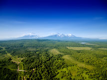 Aerial panorama of volcanoes stock images