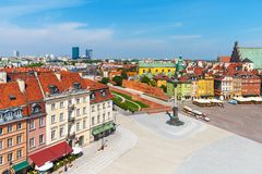 Aerial panorama of Warsaw, Poland Royalty Free Stock Images