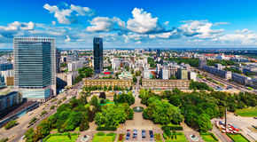 Aerial panorama of Warsaw, Poland royalty free stock photo