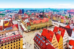 Aerial panorama of Wroclaw, Poland. Scenic summer aerial panorama of the Old Town architecture in Wroclaw, Poland Royalty Free Stock Photography
