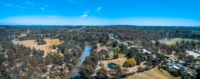 Aerial panorama of Yarra River. Aerial panorama of Yarra River flowing through Eltham suburb in Melbourne, Australia stock photography