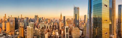 Aerial panoramaof New York skyline stock images