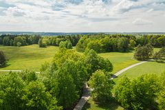 Aerial panoramatic view to nice meadow, trees and footpath, Czech landscape stock photos