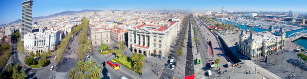 Aerial panoramic Barcelona view Port Passeig Colon Royalty Free Stock Photos