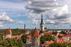 Aerial panoramic cityscape beautiful view of Old Town in Tallinn in summer, Estonia royalty free stock photography