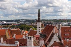 Aerial panoramic cityscape beautiful view of Old Town in Tallinn in summer, Estonia stock photos
