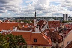 Aerial panoramic cityscape beautiful view of Old Town in Tallinn in summer, Estonia stock images