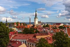 Aerial panoramic cityscape beautiful view of Old Town in Tallinn in summer, Estonia royalty free stock photo