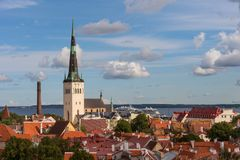 Aerial panoramic cityscape beautiful view of Old Town in Tallinn in summer, Estonia royalty free stock image