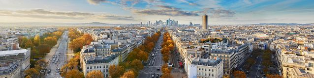 Aerial panoramic cityscape view of Paris, France Royalty Free Stock Photos