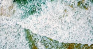 Aerial Panoramic Drone View Of Blue Ocean Waves And Beautiful Beach in Portugal Royalty Free Stock Photography