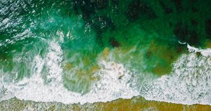 Aerial Panoramic Drone View Of Blue Ocean Waves And Beautiful Beach in Portugal Royalty Free Stock Image