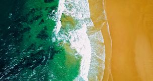 Aerial Panoramic Drone View Of Blue Ocean Waves And Beautiful Beach in Portugal Stock Images