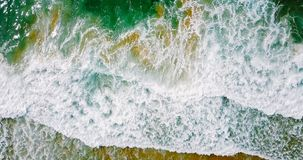 Aerial Panoramic Drone View Of Blue Ocean Waves And Beautiful Beach in Portugal Royalty Free Stock Photo