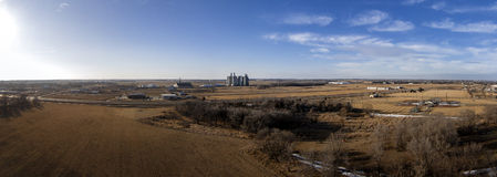 Aerial panoramic featuring a grain elevator in Mitchell, SD. Royalty Free Stock Photo