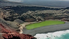 Aerial panoramic flyover of the green lake of El Golfo. Lanzarote stock video footage