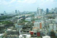 Aerial panoramic generic view of Bangkok city, Thailand, Asia. Royalty Free Stock Photography