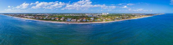 Aerial panorama Boynton Beach FL USA. Aerial panoramic image of Boynton Beach luxury waterfront mansions Florida USA landscape Stock Photo