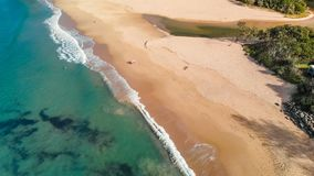 Aerial panoramic images of Dicky Beach, Caloundra, Australia stock video footage