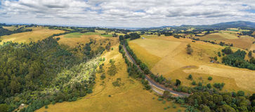 Aerial panoramic landscape of Australian coutryside Royalty Free Stock Photos