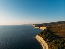 Aerial panoramic landscape of blue sea and bay, beautiful summer nature and seascape view. From above stock images