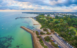 Aerial panoramic landscape of Sorrento suburb coastline. Morning. Ton Peninsula, Melbourne, Australia Stock Images