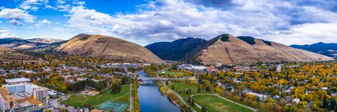Downtown Missoula Clark Fork Fall Panoramic stock photo