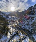 Aerial panoramic over in Canillo village. Aerial panoramic over in Canillo village, Andorra Stock Images