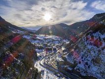 Aerial panoramic over in Canillo village. Aerial panoramic over in Canillo village, Andorra Stock Photos