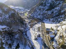 Aerial panoramic over in Canillo village. Aerial panoramic over in Canillo village, Andorra Stock Image