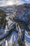 Aerial panoramic over Canillo village. Aerial panoramic over Canillo village, Andorra Royalty Free Stock Photo