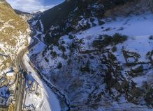 Aerial panoramic over Sant Joan de Caselles Church. Built in the 11-12th century, in Canillo village, Andorra Stock Image