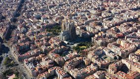 Aerial panoramic perspective of Barcelona Spain. Expansion District and Sagrada familia. Video footage. Aerial panoramic perspective of Barcelona Spain stock footage