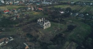 Aerial panoramic shot: Ruins of the ancient castle of the Knights Templar. Transcarpathia ruins XIII century According to one version castle erected stock footage