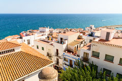 Aerial Panoramic Skyline View Of Peniscola City Beach Resort At Mediterranean Sea In Spain. PENISCOLA, SPAIN - JULY 28, 2016: Aerial Panoramic Skyline View Of Royalty Free Stock Photo