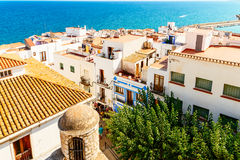 Aerial Panoramic Skyline View Of Peniscola City Beach Resort At Mediterranean Sea In Spain. PENISCOLA, SPAIN - JULY 28, 2016: Aerial Panoramic Skyline View Of Stock Image