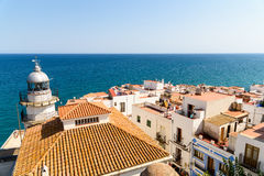 Aerial Panoramic Skyline View Of Peniscola City Beach Resort At Mediterranean Sea In Spain. PENISCOLA, SPAIN - JULY 28, 2016: Aerial Panoramic Skyline View Of Stock Photography