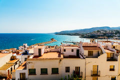 Aerial Panoramic Skyline View Of Peniscola City Beach Resort At Mediterranean Sea In Spain. PENISCOLA, SPAIN - JULY 28, 2016: Aerial Panoramic Skyline View Of Royalty Free Stock Photos