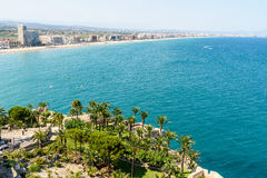 Aerial Panoramic Skyline View Of Peniscola City Beach Resort At Mediterranean Sea In Spain. PENISCOLA, SPAIN - JULY 28, 2016: Aerial Panoramic Skyline View Of Royalty Free Stock Image